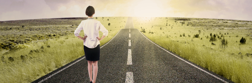 Businesswoman walk on the road to start her journey and gain bright future